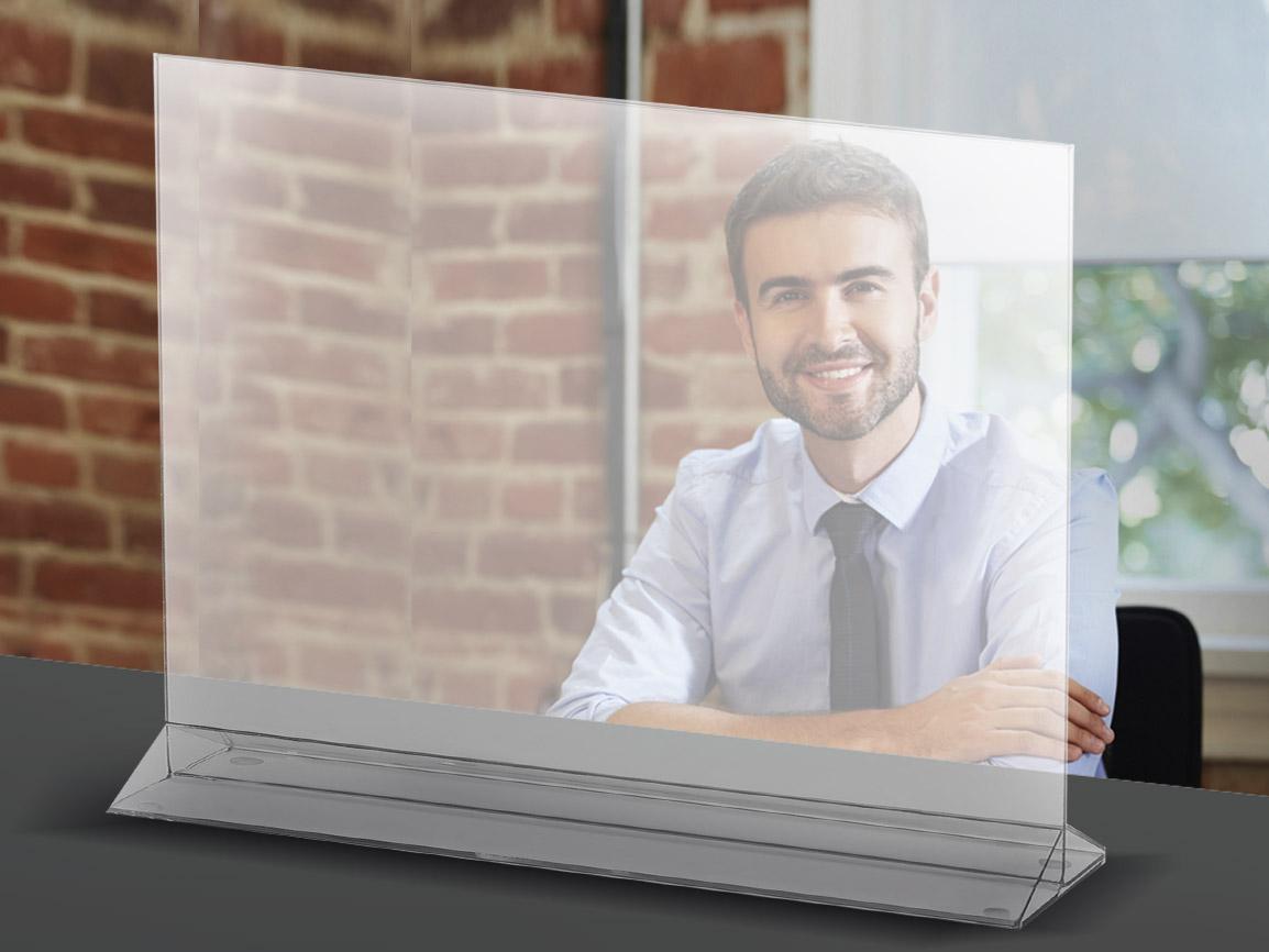 fornitura Monitor trasportabile in plexiglass per sale riunioni / scrivanie